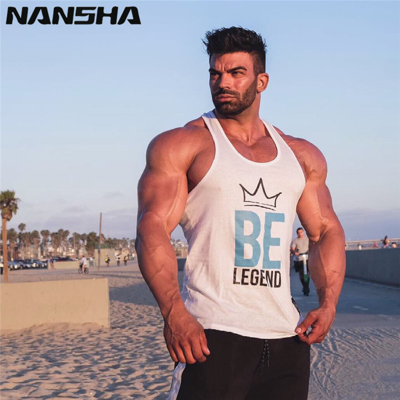 NANSHA New Summer Fashion design Men   Tank     tops   strong printed hipster Bodybuilding Stringer Vest White, Black, Red