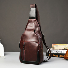 The new 2016 oil wax crazy horse leather men's chest package leisure trend men's little wave packet bag, men's bags