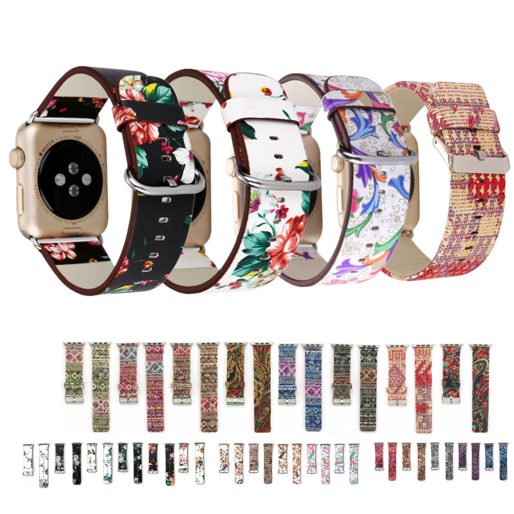 Floral Printed Leather Watchband for Apple Watch band strap 42mm/38mm Flower Design Leather Bracelet wrist belt for iwatch 3 2 1