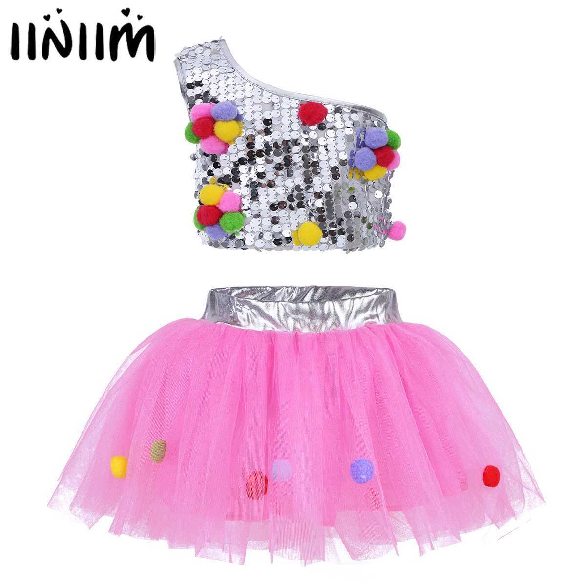 iiniim Teen Girls Gymnastics Leotard One-Shoulder Sequins Top with Tutu Skirt Hair Clip for Jazz Ballet Ballroom Dance Costumes