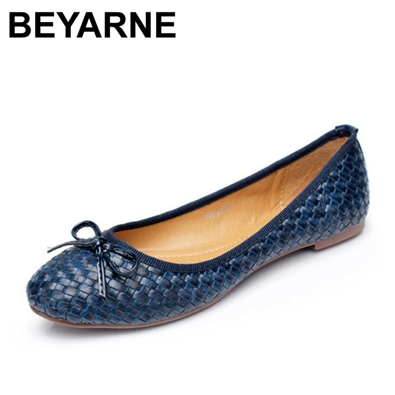 BEYARNE new flats women knitted lassic flat-bottomed casual women shoes round toe fashion plus size boat ballet flats for women 2017 new fashion spring summer boat shoes women candy color flats pointed toe slip on flat fashion casual plus size pu shoes