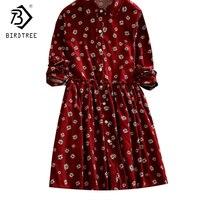 2017 Jesień Japonia Kobiety Red Suknie Mori Dziewczyna Rocznika Druku kwiaty Sztruksowe Plus Rozmiar 2XL Schudnięcia Suknie Hot Sprzedaż D7N818A