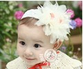 Hot sell free shipping  solid color flower and bird nest shape Chiffon  headbands for cute and lovely baby girl