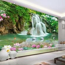 Chinese Fish Waterfall Bird Mural Wallpaper Papel De Parede for Bedroom Desktop Wallpaper Modern Fashion 3D Wall Paper Scenery(China)