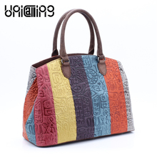 UniCalling quality soft Genuine Leather women bag Patchwork hieroglyphic handbag female fashion colorful tote shoulder