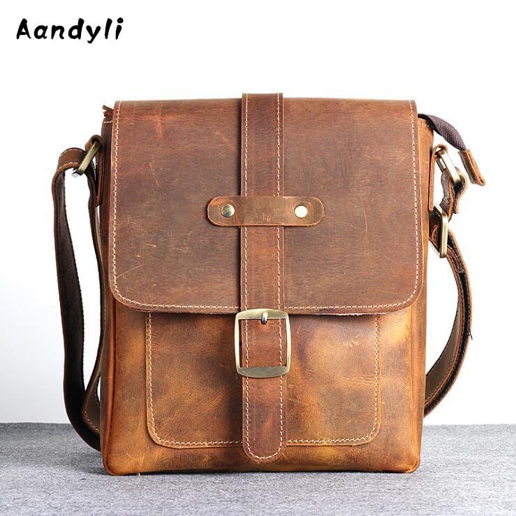 2018 Genuine leather Handbags Handmade Crossbody bag Cowhide Men