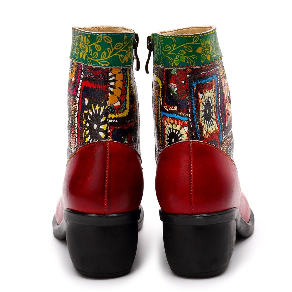Bottes Handmande Vintage Chaussures De Mode Femmes forme D'hiver Colorées Cheville Ethnique Cuir Plate En 4wRUX