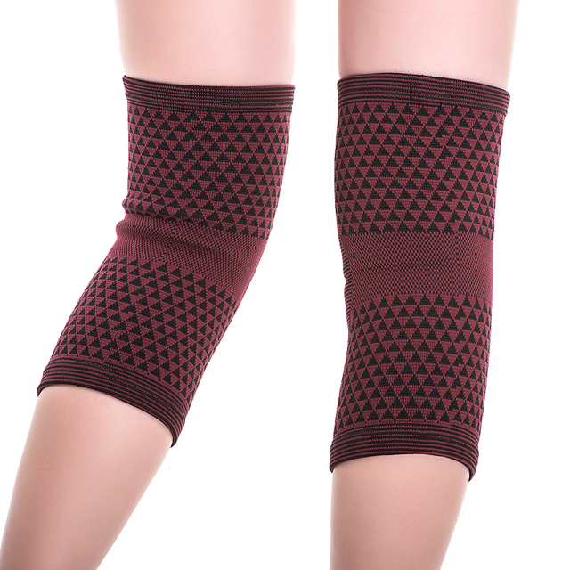 1 pair 2 pieces high elastic breathable bamboo charcoal knee support tourmaline magnetic knee brace pad patella 1