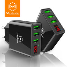 MCDODO 15W LED Display 3 USB Mobile Phone Charger For iPhone Samsung Portable Universal Fast Charging USB Wall Travel Adapter EU(China)