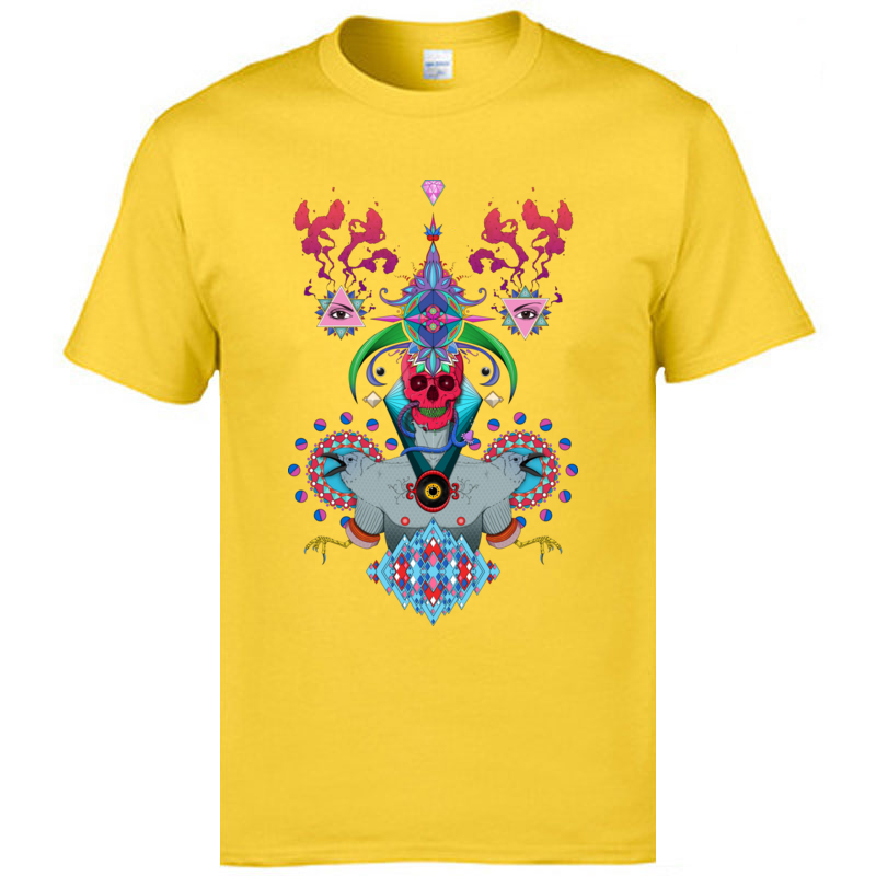 Morphosis - Skull Short Sleeve T Shirt Crew Neck Pure Cotton Male Top T-shirts Comics Top T-shirts 2018 New Top Quality Morphosis - Skull yellow