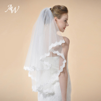 AW 2 Tiers Wedding Veil Lace Applique Edge Elbow Length Bridal Veil With Comb