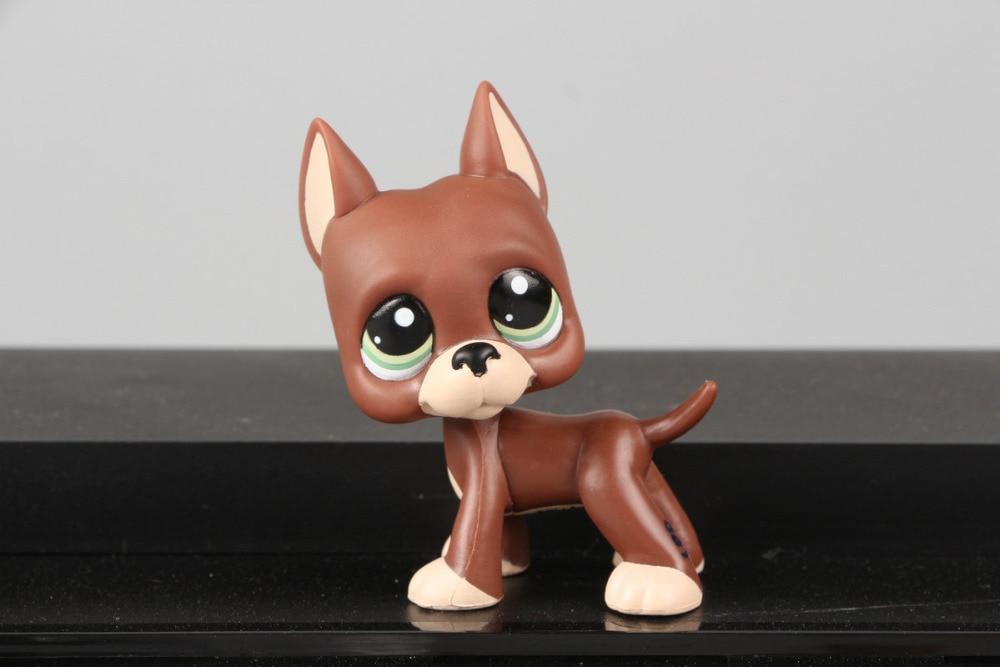 Lovely Pet Collection LPS Figure Toy Great Dane Puggy Dog Green Eyes #1519  Nice Gift Kids pet great dane 817 bis brown dog blue eyes