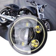 1 шт 5,75 Inch 45 W 6500 K светодиодный мотоцикл фар Привет/Lo луч лампы Ангельские глазки