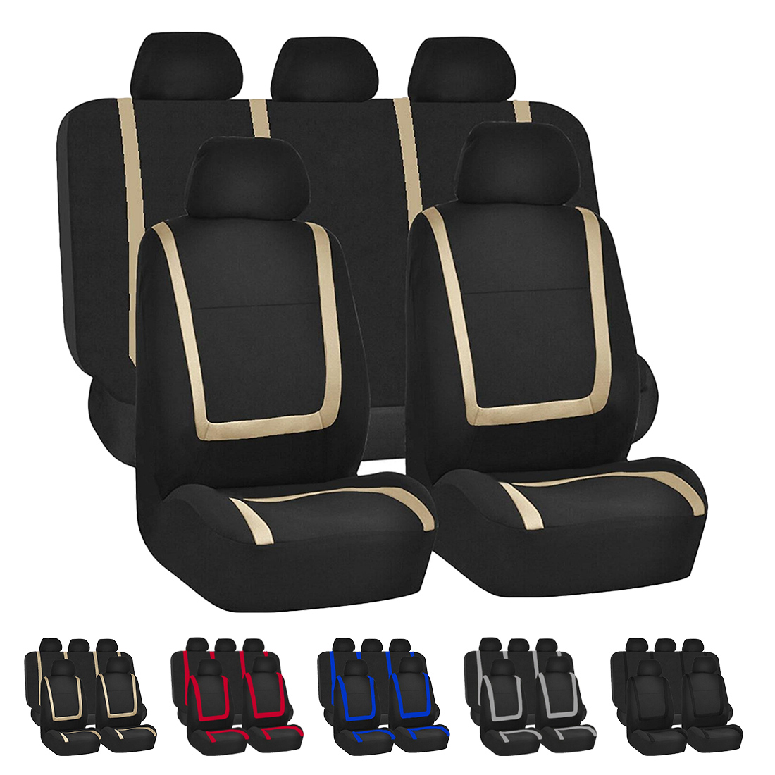Dewtreetali Universal Car Seat Cover 9pcs Full Set Seat Covers for Crossovers Sedans Auto font b