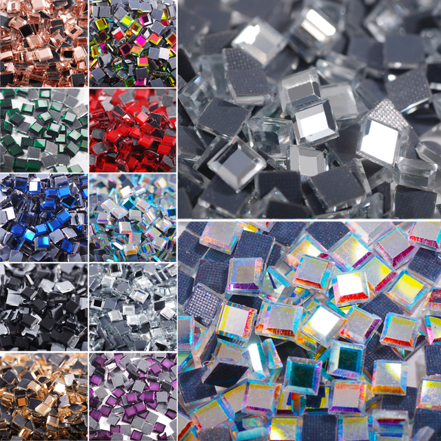 6MM 100Pcs Mirror Square Crystals Glass Hot Fix Rhinestones DMC HotFix  Strass Stones for Clothes Wedding Dress 2c427b62b5d6