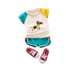 Boys short sleeved T-shirt set 2019 new summer baby clothes 1-5 years old boys half-sleeved pants two-piece set стоимость