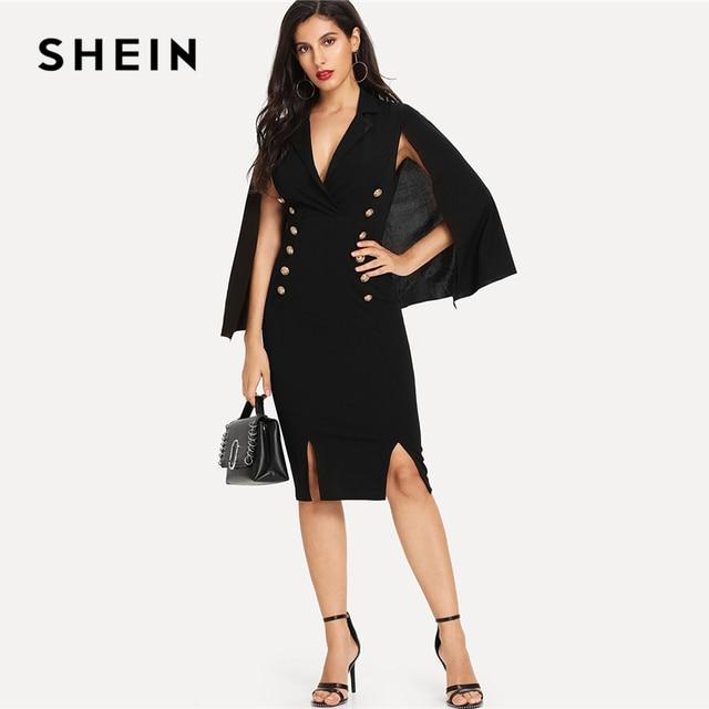 f48876e1029f SHEIN Black Solid Cape Sleeve Double Breasted Dress Elegant Deep V Neck  Button Split Bodycon Dresses Women Slim Autumn Dress