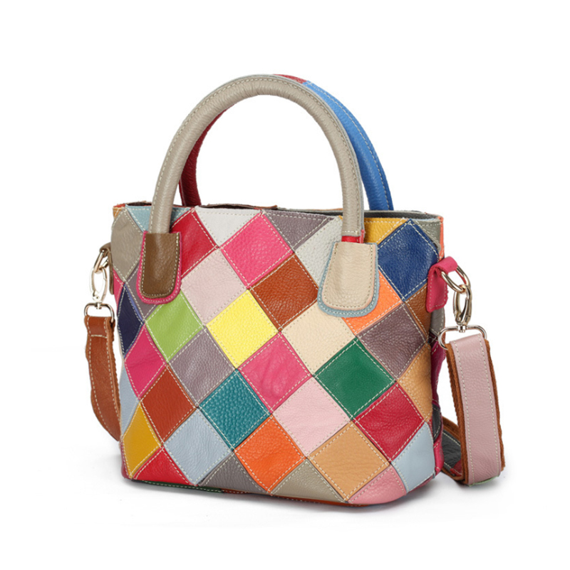 2019 Genuine Leather Women Handbag Fashion Multicolor Patchwork Cow Leather Brand Female Bags High Quality Ladies Shoulder Bags-in Shoulder Bags from Luggage & Bags    1