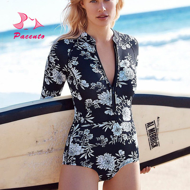 PACENT Deep V Zipper Long Sleeve Swimwear Female Plus Size XL XXL Bathing  Suit Women Swimsuit dd241641015