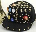 High Quality Handmade Rivets Snapback Cap Newly Adjustable Hip Hop Cap Cool Punk Flat Brim Peaked Cap Casquette