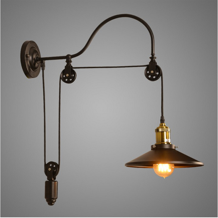 Wiring Wall Lights: Vintage Iron RH Loft Industrial LED American Country Pulley Wall Lights  Adjustable Wire Lamps Retractable Bar,Lighting