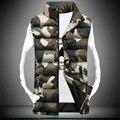 Мужчины Стоят Воротник Камуфляж Жилет Мужчин Зима Рукавов Случайные Куртки Мужчины Женщины Тонкий Жилеты