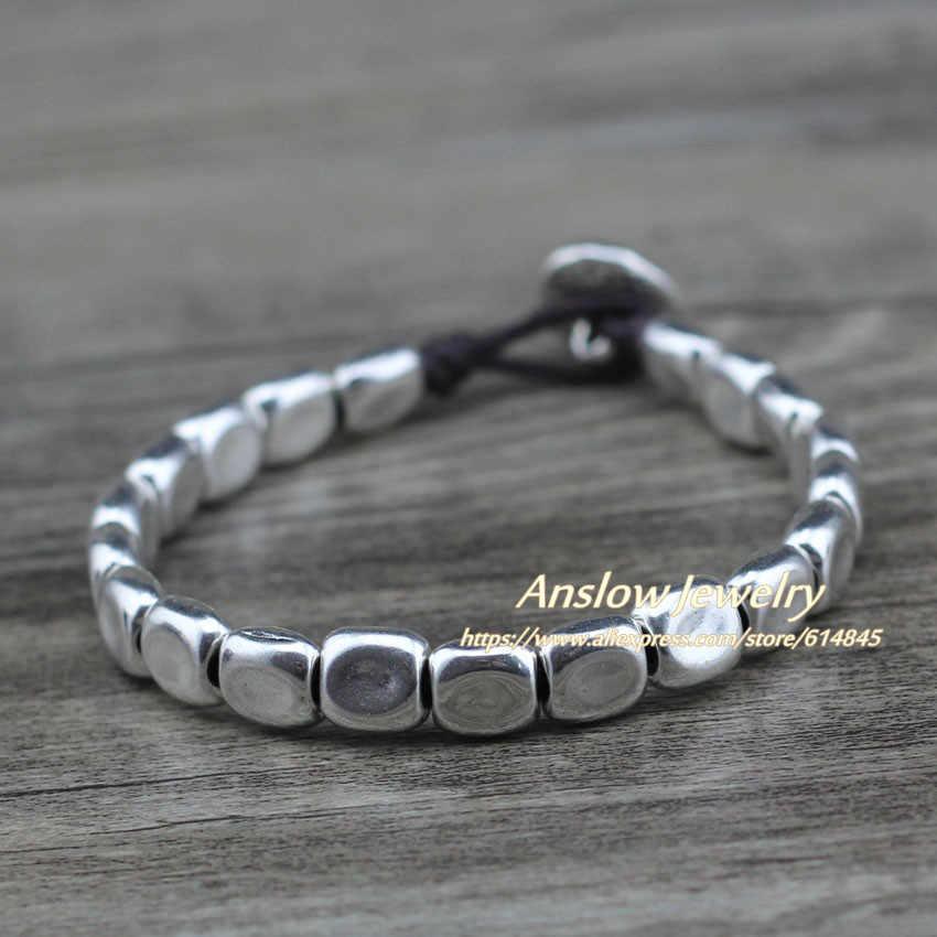 Anslow New Designer Handmade DIY Wrap Rope Silver Beads Pink Blue Crystal Bracelet For Women Girl Femme Jewelry Gift LOW0735LB