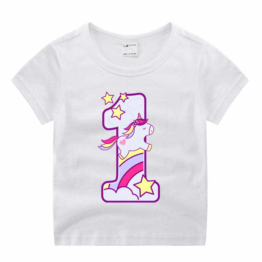 Baby Boy Girl Happy Birthday Unicorn Number 1-9 Bow Cute Print Clothes Children Funny T-shirt Round Neck Cotton Children