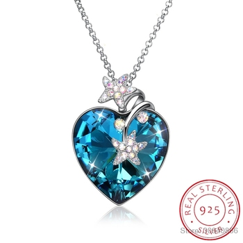 LEKANI Crystals From Swarovski Luxury Heart Pendant Necklace 925 Silver Long Chain Maxi Colares For Women Lovers Christmas Gifts