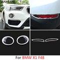 Для BMW X1 F48 2016 2017 Автомобилей Фронт + Задний Противотуманный Фонарь Рамка Наклейки Блестки Внешней Отделки Авто Аксессуары Для Автомобиля-стайлинг