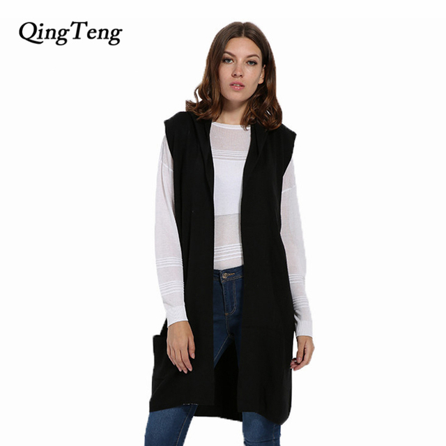 80f2759042d70 QingTeng Long Cardigan With A Hood Women Cashmere Wool Knitted Thick Casual Sleeveless  Cardigan Female Vest