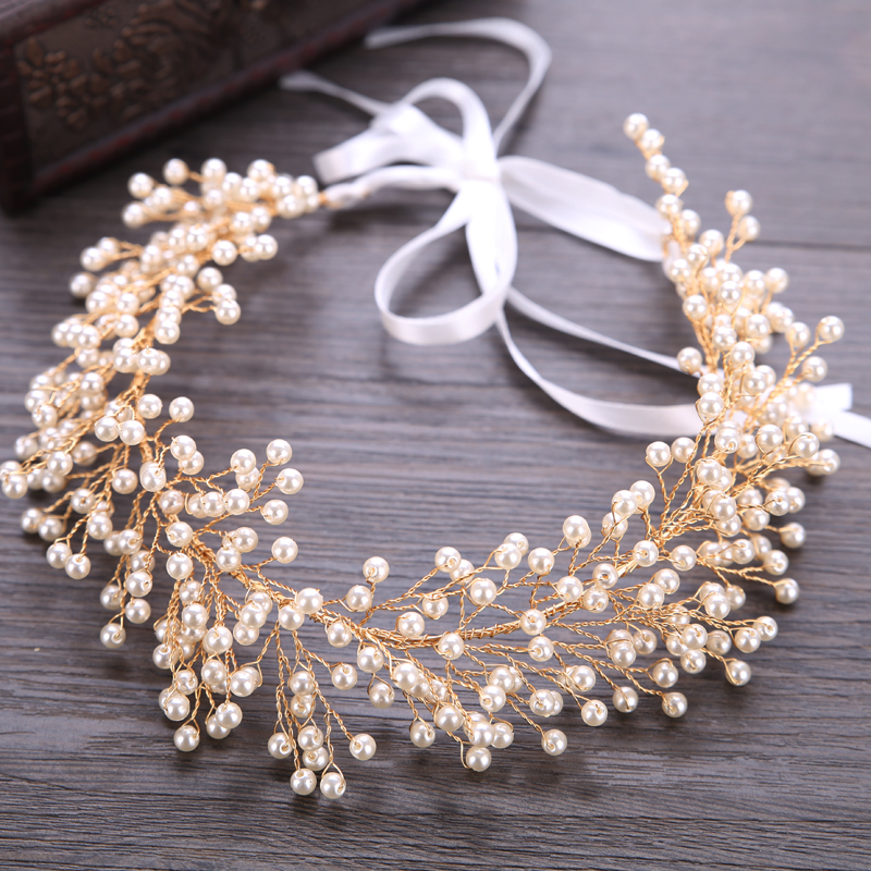 Bridal Pearl Headband Hair Jewelry Wedding Tiara Gold Hair Accessories Women Headbands With Yarn Leaf Headdress купить в Москве 2019