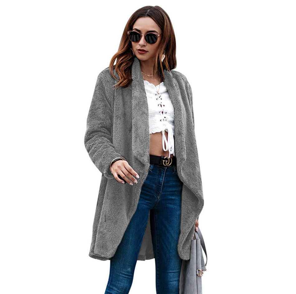 Fashion Ladies Women Long Coats 2018 Spring Autumn Clothing Women Outerwear Lapel Plush Open Stitch Women Clothes Winter