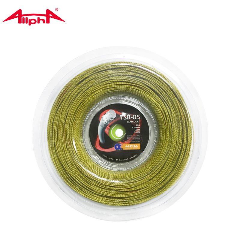 ALPHA TSB-05 Claycourt Tennis String 1.30mm Multifilament Nylon Core Control Round Tennis Racket String 200m Reel