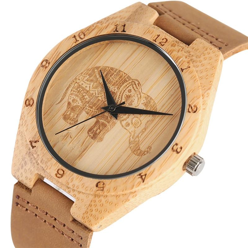 Mandala Bohemian Style Wooden Women Watches Exquisite Thailand Elephant Engraving Bamboo Quartz Wristwatch Mans Womens Clock