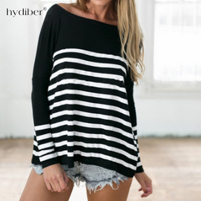 Sexy women T-shirt 2018 Women Long Sleeve Off Shoulder Tops O neck Striped T-Shirt Casual Tops Women T Shirt Femme