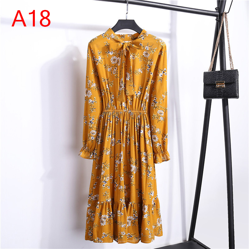 Korean Black Shirt Vestidos Office Polka Dot Vintage Autumn Dresses Women Winter Dress 19 Midi Floral Long Sleeve Dress Female 59