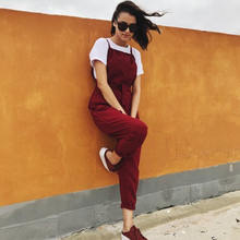 New Spring Summer Casual Women Drawstring Pants Solid Pocket Cotton And Linen Mid Jumpsuits Cpris Solid Pleated Overalls mid rise floral print linen drawstring jogger pants