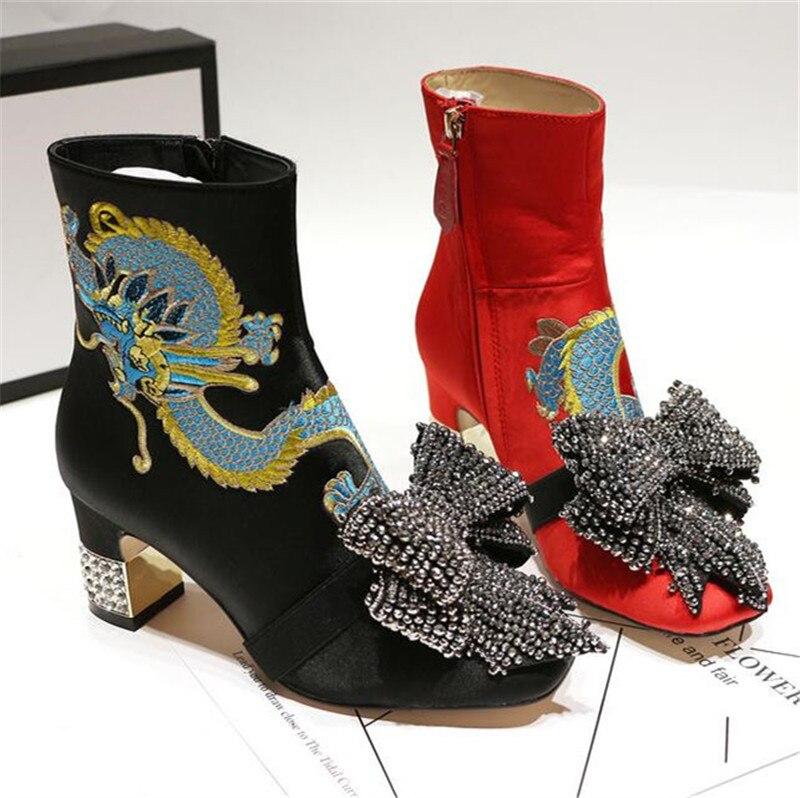 Femmes Rouge Imprime Habillées Dragon Courtes Chaussures Talons Bowtie Design Noir Pointu Cristal Magnifique Bottines Nouveau Épais SqpIPaOwa