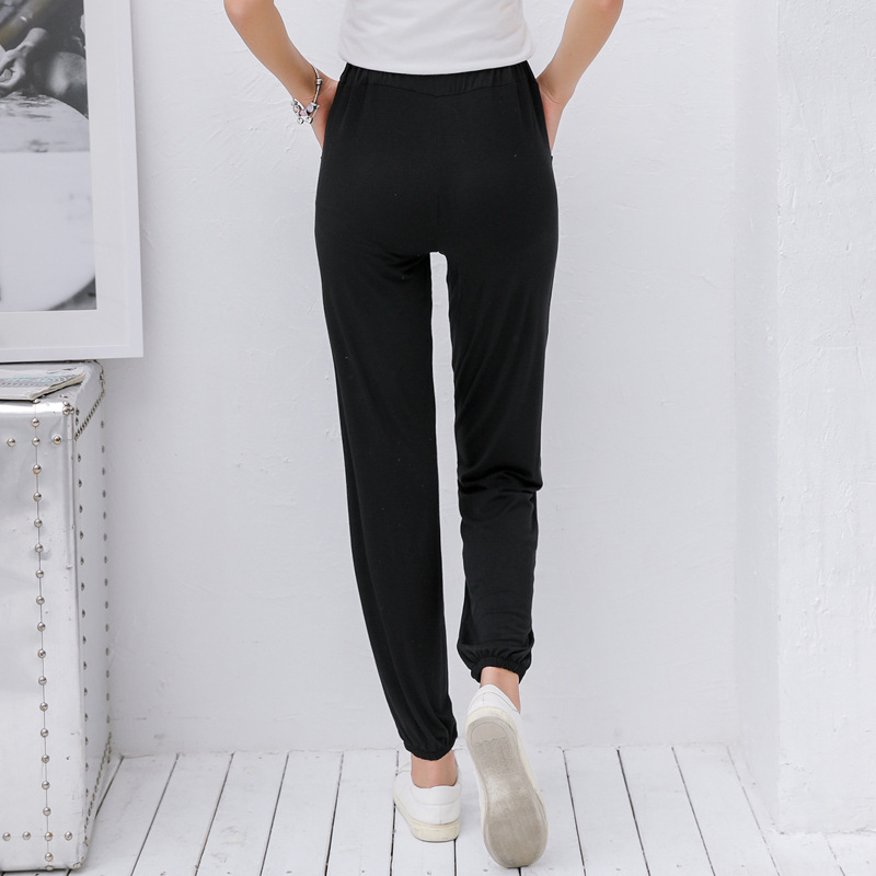 HOUZHOU Summer New Ankle Length Pants Women Fitness Elastic Waist Jogger Mujer Solid Loose Large Size Drawstring Trousers Female