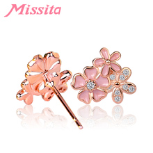 MISSITA Romantic Rose Gold Daisy Flower Earrings For Women Silver Jewelry Brand Stud Party Gift Hot Sale