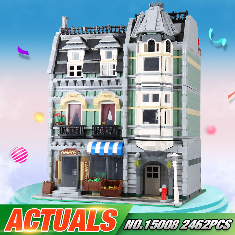 Lepin 15008 2462Pcs City Street Green Grocer Model Building Kits Blocks Bricks Compatible Educational toys 10185 lepin 15008 new city street green grocer model building blocks bricks toy for child boy gift compatitive funny kit 10185 2462pcs