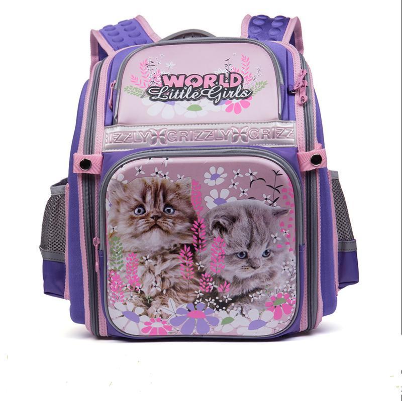 Cartoon cat Prints High Quality Waterproof nylon School Bags For Teenager Girls Orthopedic Backpacks book bag For kids Rucksack
