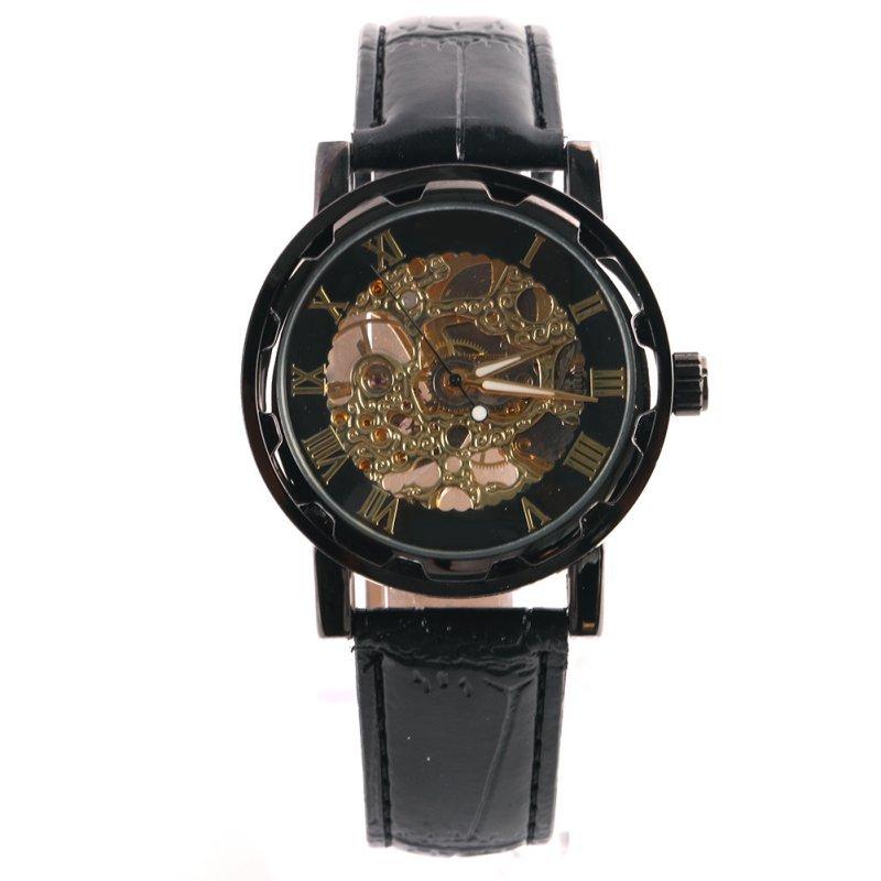 2018 Horloge Heren Leren Band Mechanisch Luxe Horloges Klassiek Wijzerplaat Skelet Quartz Polshorloge Relogio Polshorloge