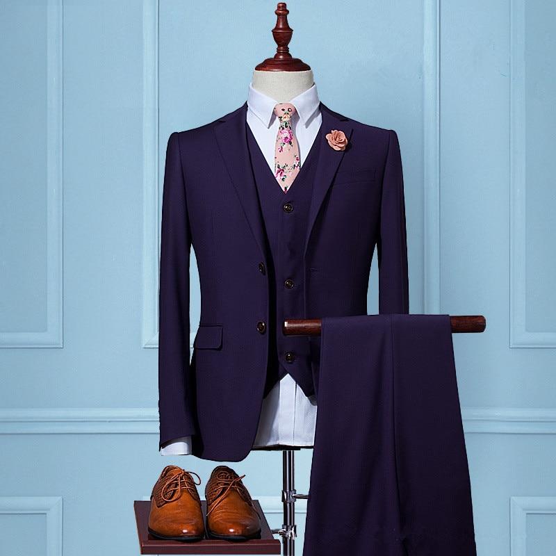 2017 New Men Suits Two Button purple Suits Jacket Formal Dress Men Suit Set Men Wedding Suits Groom Tuxedos (Jacket+Pants+Vest) jones new york men s vince two button side vent suit