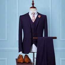 2017 New Men Suits Two Button purple Suits Jacket Formal Dress Men Suit Set Men Wedding Suits Groom Tuxedos (Jacket+Pants+Vest)