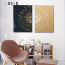 Modern Minimalist Poster Art Abstract Painting Gold Line Circle Decorative for Living Room Creative
