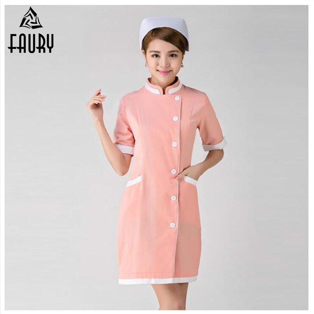 2018 Nurse Uniforms Women Summer Hospital Doctor Female Short-Sleeved Medical Clothing Beauty Salon Dental SPA Work Wear Dress