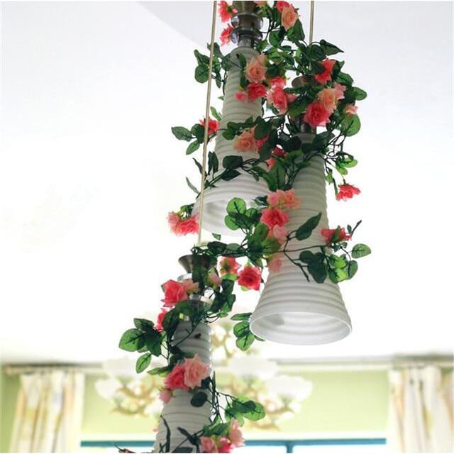 Home Flower Decoration Ideas Part - 41: 250CM Home Wedding Arch Backdrop Ideas Flower Green Artificial Fake Plastic  Hanging Vines Flower Decoration Supplies