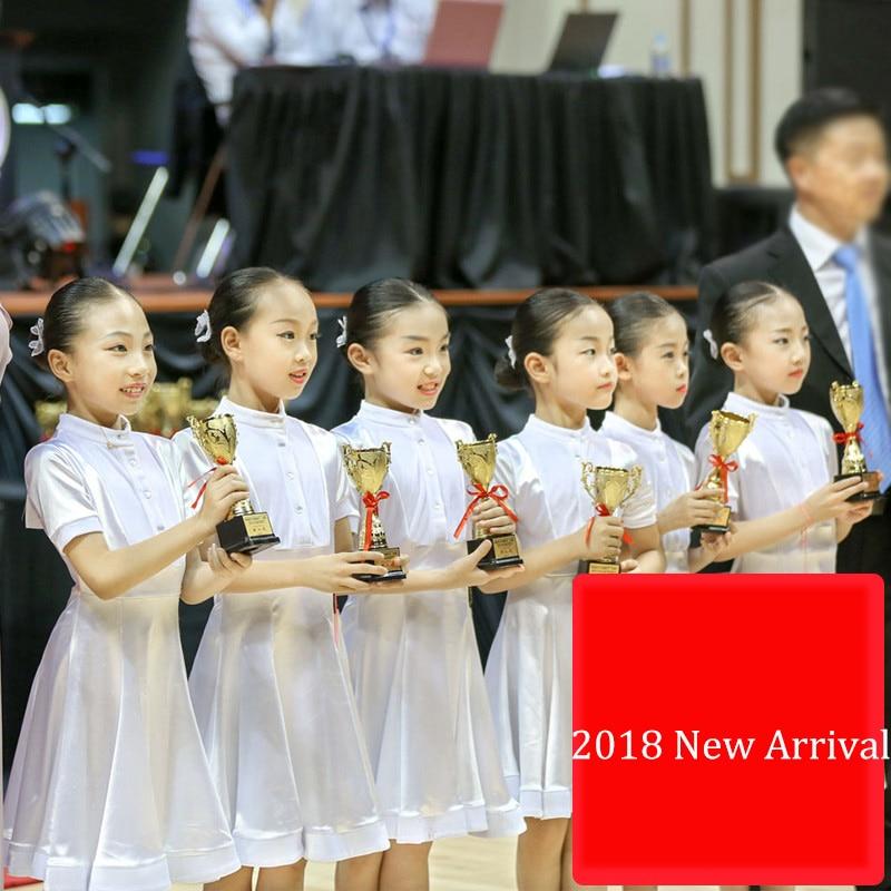 2018 Girl Latin Dancing Dresses White Sexy Dance Dress Kids Ballroom School Girl Examination Children Fabric Costumes E031